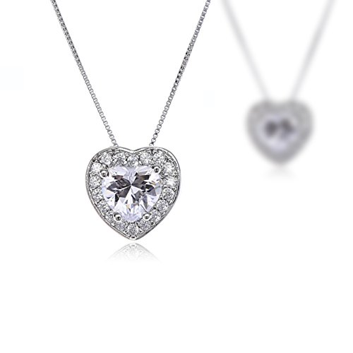 AMYJANE Crystal Jewelry Set for Women - Sterling Silver Small Heart Shaped Cubic Zirconia Birthstone Elegant Bridal Pendant Dangle Earrings Set for Girls Valentine's Day Gift by by AMYJANE (Image #4)