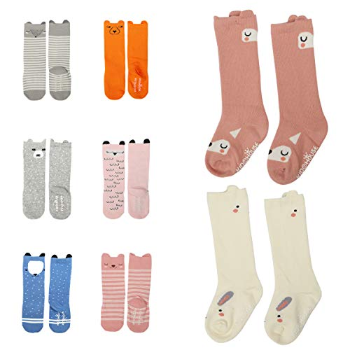 Baby Toddler Girls Boys Cartoon Animal High Knee Socks Grip Sole Non-skid DEEKEY 8 Pairs Stocking (S (0-2 Years)) (Grip Socks Knee High)