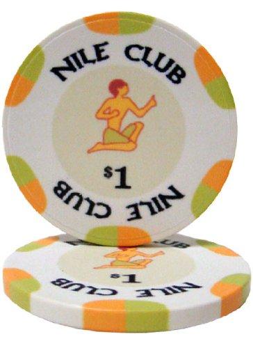 - 25 $1 Nile Club 10 Gram Ceramic Casino Quality Poker Chips