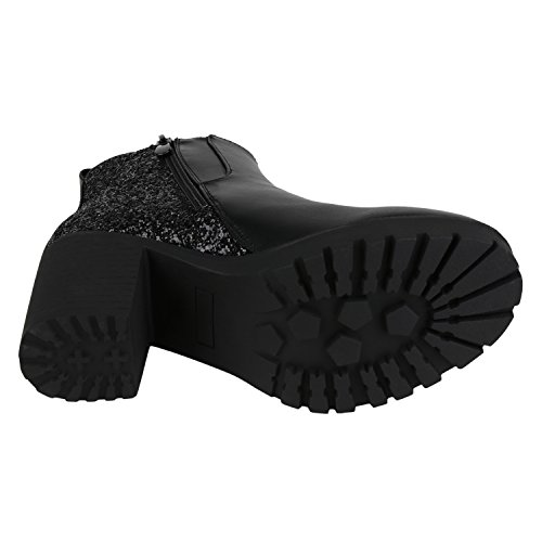 napoli-fashion Damen Stiefeletten Chelsea Boots Blockabsatz Profilsohle Schuhe Jennika Schwarz Noir
