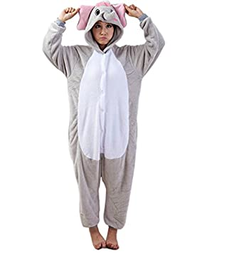 LIHAO Pijama Disfraz de Gris Elefante para Adulto Unisex, Cosplay, Carnaval (Talla: