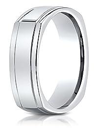 Benchmark® 7mm Comfort-fit High Polished Four-sided Carved Design Band