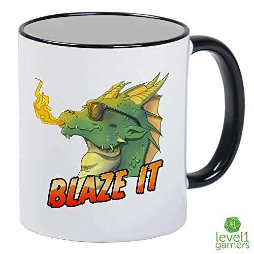 Blaze It DnD Dragon Pun Role-Playing White Mug With Black Handle And Interior