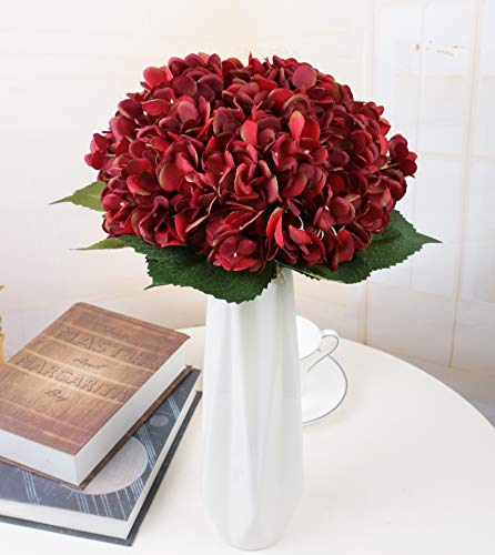 Furnily Hydrangea Artificial Flowers 5 Pcs Silk Fake Flowers Arrangements for Home Decoration (Red)