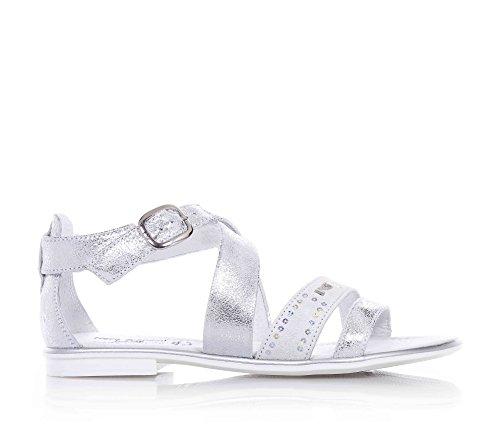 NERO GIARDINI - Silberne Sandale aus Leder und Wildleder, mit Schnallenverschluss, Mädchen, Damen