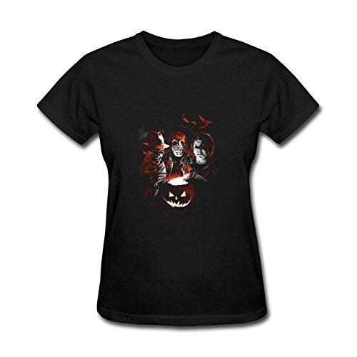 ZhiBo Horror Dark Night Halloween Pumpkin Killer Team Customized T-shirts for Woman Black Medium (Halloween Horror Nights 24 T Shirts)