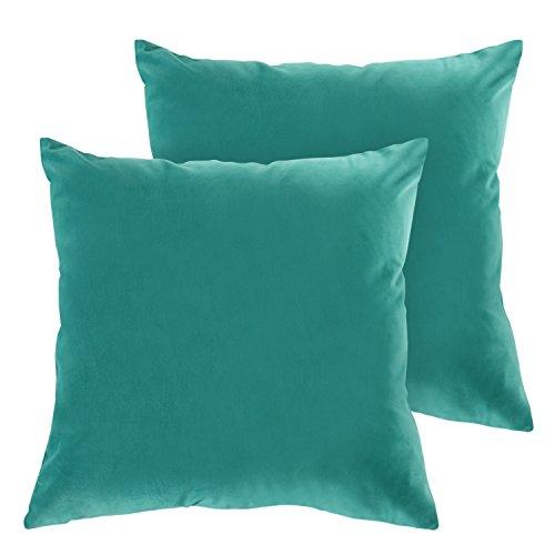 Tropical Living Room - Deconovo Home Decorative Pillow Cover Super Soft Velvet Hand Made Sofa Cushion Covers for Living Room 18x18 Inch Teal 2 Pcs