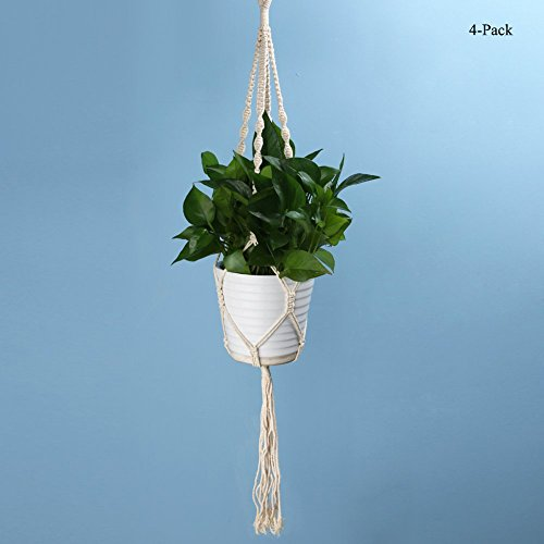 Plant Hanging Rope, WCIC 4-Pack Vintage Flower Pot Hanger Hand Made Basket For Indoor Outdoor Plant Hanging Style#2 by WCIC