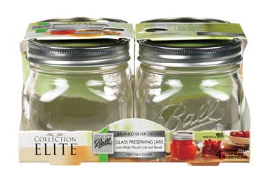 Ball Canning Platinum Wide Mouth Pint Jar, Pack of 4