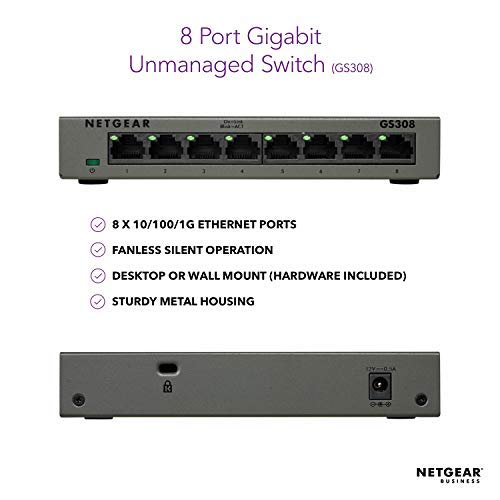 NETGEAR 8-Port Gigabit Ethernet Unmanaged Switch (GS308) - Desktop, Sturdy Metal Fanless Housing
