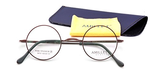 Amillet 42mm Retro Round Titanium Prescription Eyeglass Frames,for Men and Women,Rx-able,0.4 oz - Frames For Eyeglass Round Face