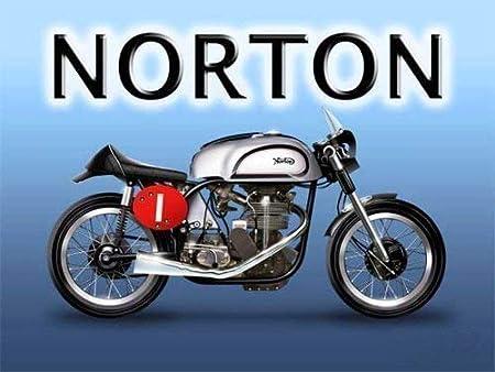 Norton Manx motor bicicleta. Isla de Hombre TT. Británico Motor ciclo. Para gasolina cabeza, motociclista, pub, bar, casa, hogar o garage Metal/Cartel De Acero Para Pared - 9 x 6.5 cm (Magnet):