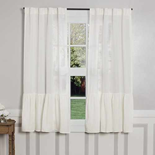 French Country Bedrooms - Sophia High Ruffle Panel Curtains, Set of 2, 63