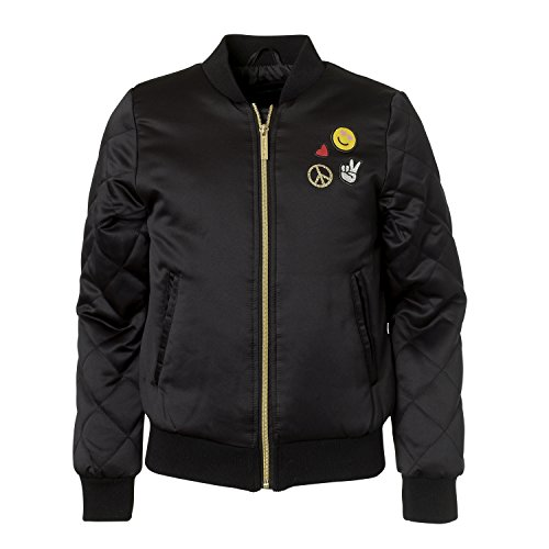Limited Too Girls Novelty Bomber Jacket With Patches and Quilted (Girls Quilted Bomber Jacket)