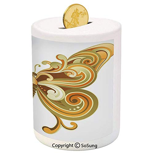 - Modern Ceramic Piggy Bank,Macro Butterfly Figure Spiritual Wings Life Symbol Animal Illustration 3D Printed Ceramic Coin Bank Money Box for Kids & Adults,Sepia Marigold Cinnamon