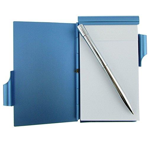Cmxsevenday C68809 Pocket Size Aluminium Alloy Memo Pad Holder, with Ball Point Pen - Light Blue