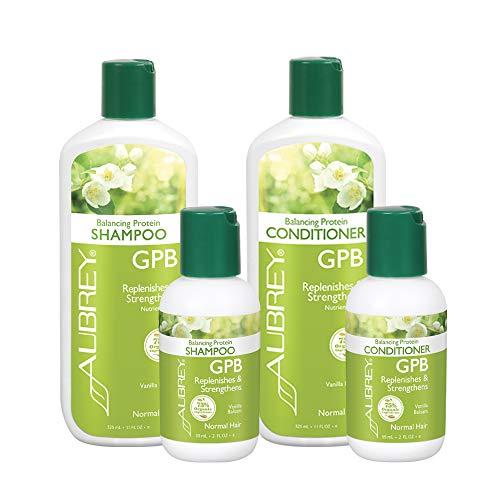 Aubrey GPB Balancing Protein Shampoo/Conditioner 4-Pack | Nourish & Strengthen Damaged Hair | Vanilla Balsam, 11oz & 2oz (Gpb Glycogen Protein Balancing Shampoo)