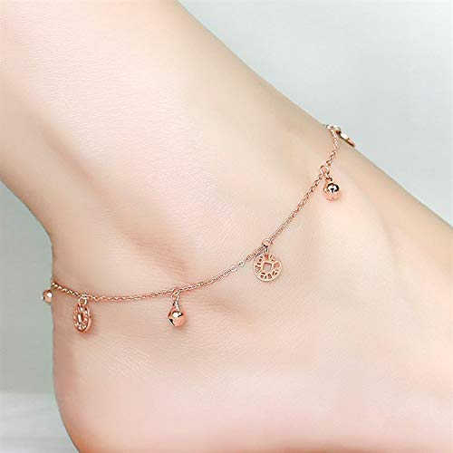 spot! 14k Gold Cross 18k Horizontal Version Single Small Diamond Bracelet Foot Chain Anklet Ankle Jewelry Necklace Pendant Embellishment (a Coin a Bell anklets