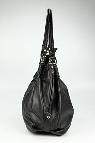 Belli ital. XXL Nappaleder Shopper HoBo schwarz butterweich - 48x37x16 cm (B x H x T)