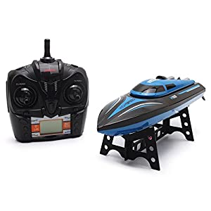 RC Boat Remote Control Boat Radio Control Boat 2.4GHz 4 Channel High Speed Boat with LCD Screen For Pools And Lakes