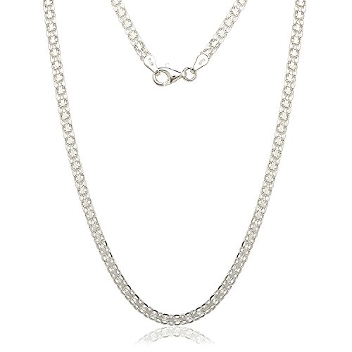 (JewelryWeb Sterling Silver Italian 3.5mm Bismark Chain Necklace (16-30) (30-inch))