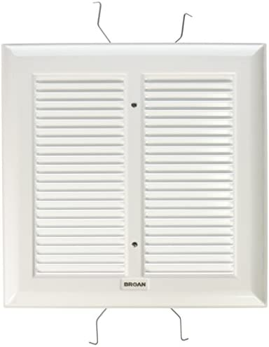Broan S97011308 Spring Mounted Bathroom Fan Cover Grille Assembly, White
