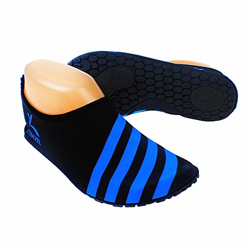 Cevinee �?(Update Version) Slip-On Water Schuhe, Anti-Rutsch-Aqua-Socken, atmungsaktive Beach Swim Surf Yoga Outdoor Soft Schuhe Blauer Streifen