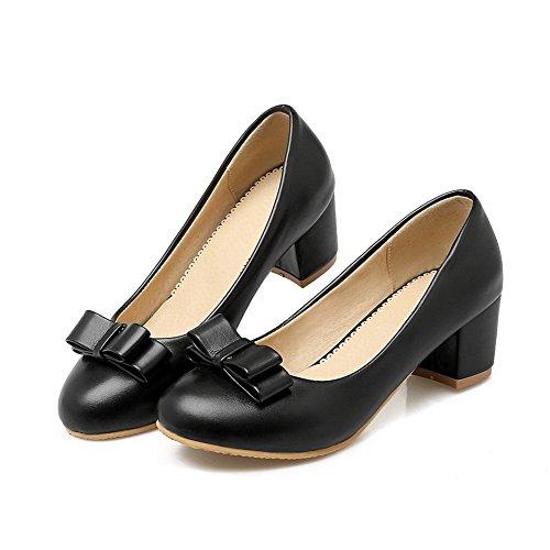 Balamasa Femmes Talons Chunky Filé Or Bowknot T-shirts À Tige Basse Imité En Cuir Pompes-chaussures Noir