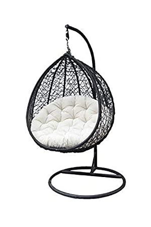 TIED RIBBONS Hanging Swing Chair with Cushion & Hook/Color,Black for 1Outdoor/Indoor/Balcony/Garden/Patio