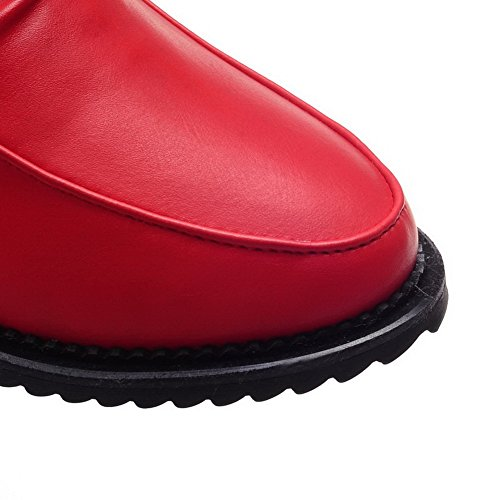 AllhqFashion Mujeres Tobillo Sin cordones Cuña Puntera Redonda Botas con Lazos Rojo