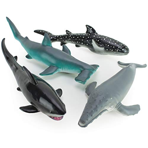 Boley 4 PC Soft Whale and Shark Figure Toys - Realistic Looking Humpback Whale, Hammerhead, Great White, and Whale Shark Ocean -