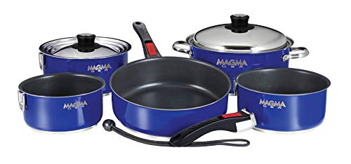 (Magma Products, A10-366-CB-2-IN Gourmet Nesting 10-Piece Colored Stainless Steel Induction Cookware Set with Ceramica Non-Stick)