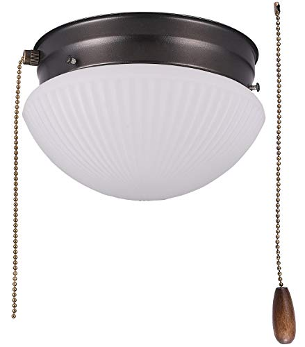 Cloudy Bay LED Flush Mount Ceiling Light with Pull Chain,Glass Shade, 7 inch,12W Dimmable, CRI90 3000K Warm White,Oil Rubbed Bronze