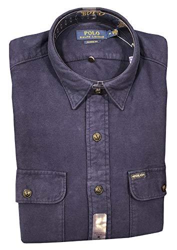 Polo Ralph Lauren Mens Classic fit Flannel Shirt (L, Navy)