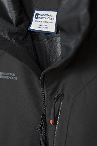 Capilla la del Warehouse Impermeable y Bolsillos Mountain la del Capa Negro Capa Mens Foso Breathable Seguridad de de Dobladillo de Ajustable Chaqueta Bachill SwqPqAv