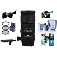 Sigma 70-200mm f/2.8 EX DG OS HSM AF Telephoto Zoom Lens for Canon EOS - Bundle with 77mm Filter Kit, Flex Lens Shade, FocusShifter LensShifter Grip Handle, Cleaning Kit, Software Package and More