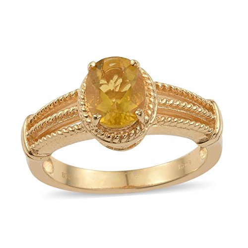 Fluorite Ring Yellow (Shop LC Ion Plated Oval Yellow Fluorite Fashion Ring for Women Size 7 Cttw 1.8)