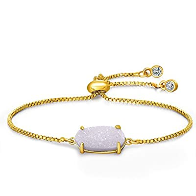 Natural Druzy Quartz Pendant Gold Bracelet- Fashion jewelry for women Perfect gift for Her