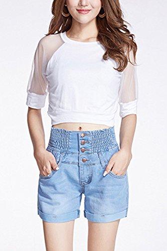 Vita Tasca Blu Pulsante Chiarocolor Le Jeans Alta Pantaloncini Di Taglia Donne Con anq871t