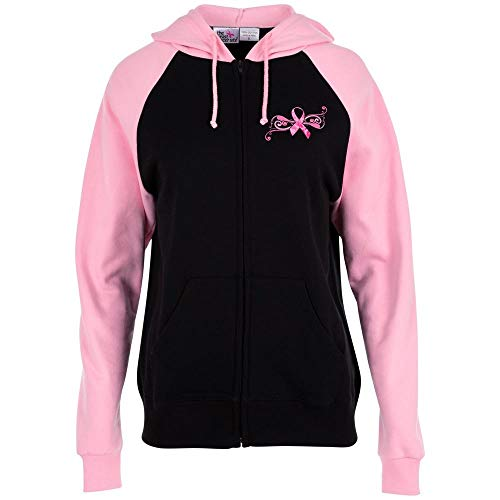 GreaterGood Pink Ribbon Butterfly Two-Toned Zip - Hoodie Butterfly Zip Womens