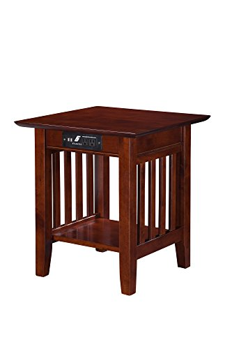 Mission End Table with USB Charger, - Outlets Atlantic