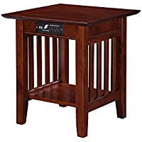 Mission End Table with USB Charger, Walnut