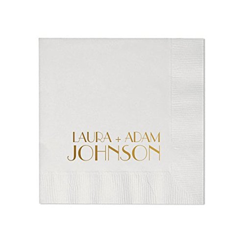 Personalized White Wedding Cocktail Napkins, set of 100