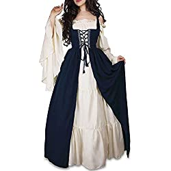 WENROU Womens Renaissance Medieval Irish Costume Over Dress and Cream Chemise Set (XL, Blue)