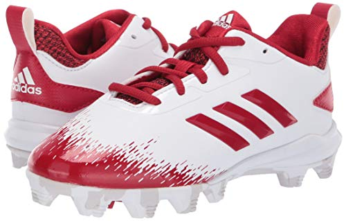 adidas Adizero Afterburner V Baseball Shoe White/Power red/Grey 5 M US Big Kid by adidas (Image #6)