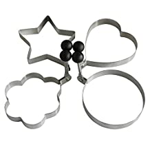 4-Style High Quality Stainless Steel Omelette Egg Ring Pancake Round Mold Omelette Mould Pancake Mold(Set of 4 shape-Heart Star Round Flower Shape) by Kakaxi