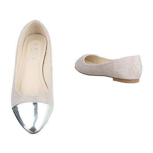 ... Damen Ballerinas Schuhe Flats Slipper Pumps Slip On Schwarz Blau Gold  Rot Silber 36 37 38 ... a47a87dbba