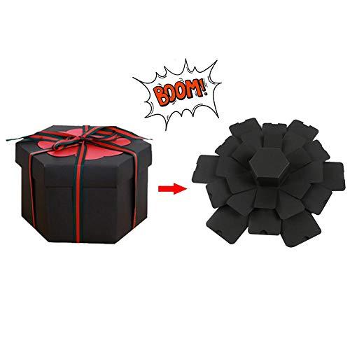 (Fancystar Creative Surprise Box Explosion Box DIY Folding Photo Album, DIY Gift Scrapbook and Photo Album for Anniversary/Birthday/Wedding/Christmas/Valentine (Black))