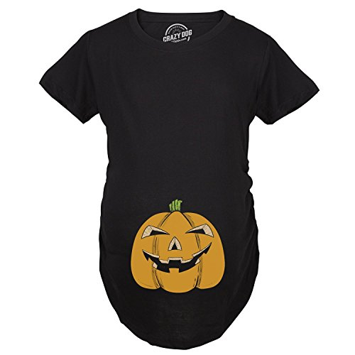Maternity Smiling Jack-O-Lantern Pregnancy Tshirt Funny Halloween Baby Bump Tee (Jack Maternity T-shirt)