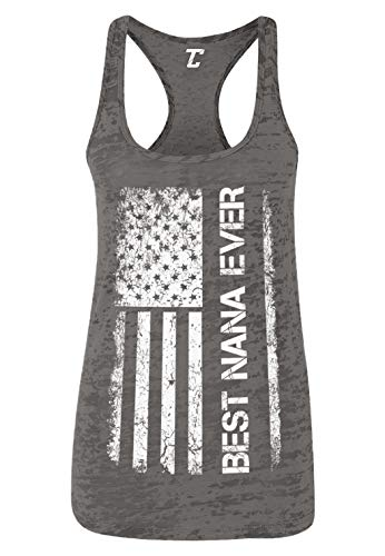 Mother's Day American Flag - Best Nana Ever Women's Racerback Tank Top (Charcoal, Medium)
